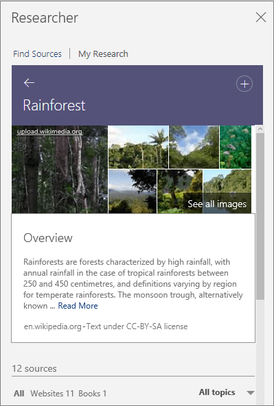 Researcher pane showing Rainforest search results