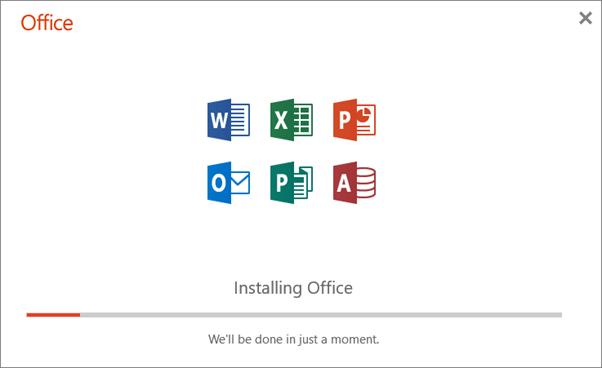 Muestra el cuadro de diálogo de progreso que aparece cuando se instala Office