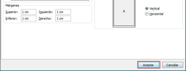 Haga clic en Aceptar para aplicar los tamaños de los márgenes modificados.