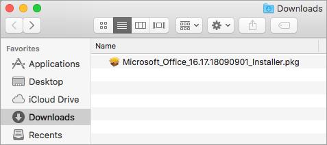 El icono Descargas en el Dock muestra el paquete instalador de Office 365