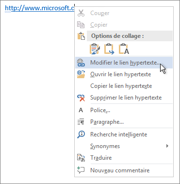 Modification d'un lien hypertexte