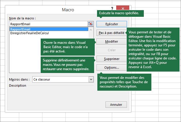 Boîte de dialogue Macro