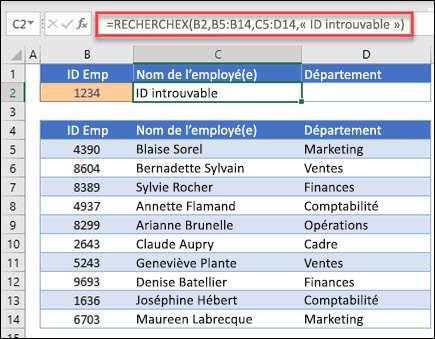 """Exemple de la fonction XLOOKUP utilisée pour renvoyer le nom d'un employé et le service en fonction de l'IDENTIFIant de l'employé avec l'argument if_not_found. La formule est = mois. deXLOOKUPr (B2; B5: B14; C5: D14; 0; 1; """"employé introuvable"""")"""
