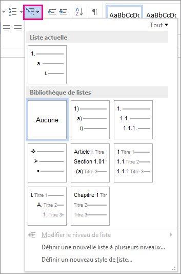 Styles de liste à plusieurs niveaux de Word2010