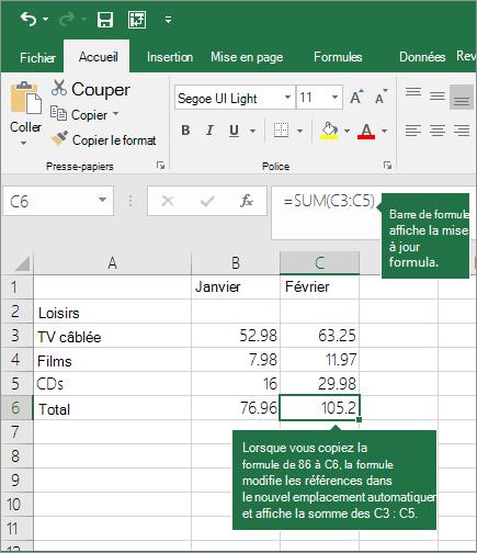 Lorsque vous copiez une formule, les références de cellules sont automatiquement mises à jour