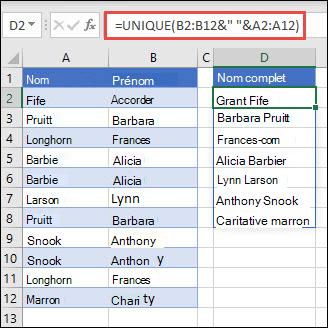 Utilisation de la fonction UNIQUE avec plusieurs plages pour concaténer les premières colonnes nom/nom en nom complet.