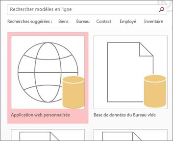 microsoft access 365 Bouton Application web personnalisée sur l'écran de démarrage.