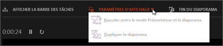 Paramètres d'affichage en mode Présentateur