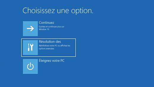 options de recuperation dans windows 10