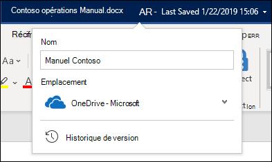 Menu déroulant du titre du document dans Word pour Office 365