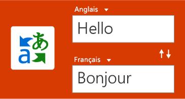 Bouton Traducteur, accompagné d'un mot en anglais et de sa traduction en français