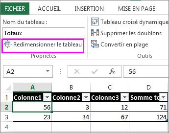 utiliser l'option redimensionner le tableau des Outils de tableau