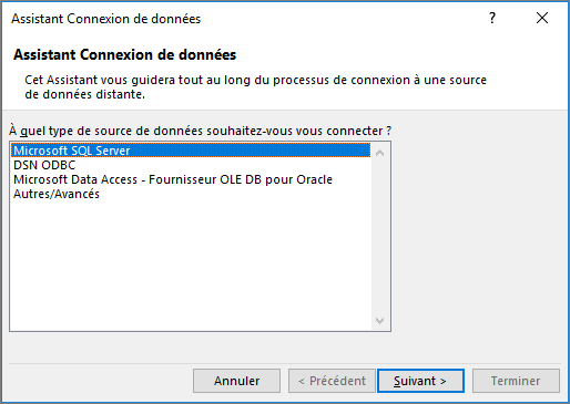 Assistant Connexion de données