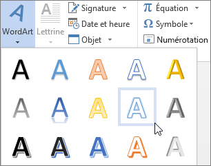 Choix d'une option d'objet WordArt
