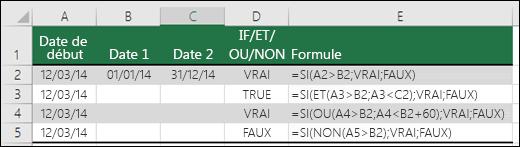 Exemples d'utilisation de la fonction SI avec les fonctions ET, OU et NON pour évaluer des dates