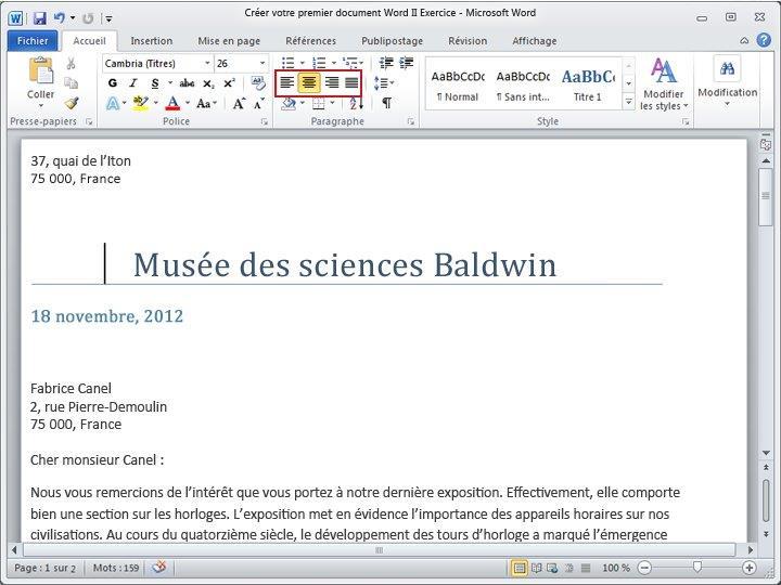 Aligner Le Texte Gauche Au Centre Ou Droite Word