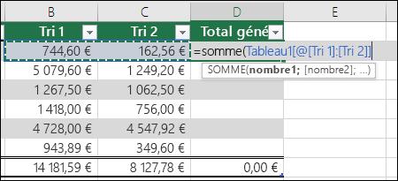 Ajouter une seule formule dans une cellule de tableau qui sera la saisie semi-automatique pour créer une colonne calculée