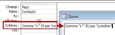 Image du concepteur de requêtes avec PAS et ET PAS suivi du texte à exclure de la recherche