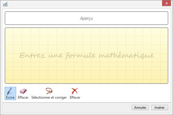 Volet de saisie manuscrite d'une équation dans PowerPoint