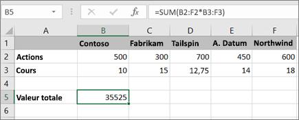 Exemple d'une formule matricielle qui calcule un seul résultat