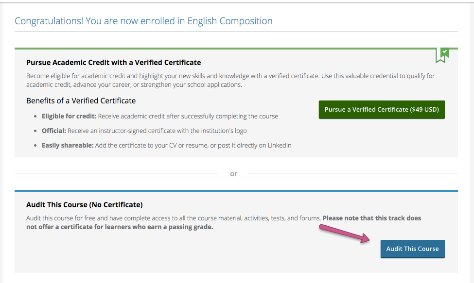 How Do I Take A Course For Free Edx Help Center
