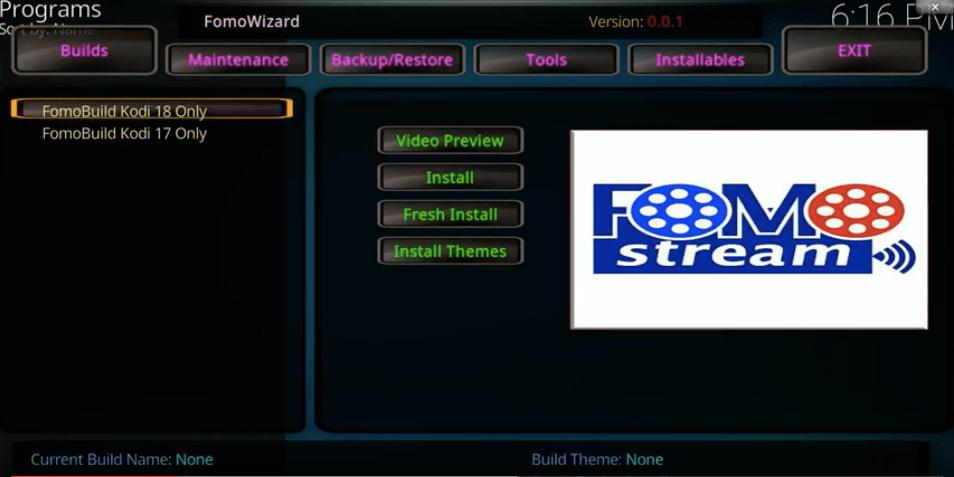 FomoWizard Screen