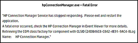hpConnectionManager.exe - Fatal Error