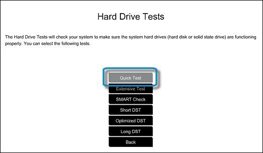 Selecting the Hard Drive Quick Test