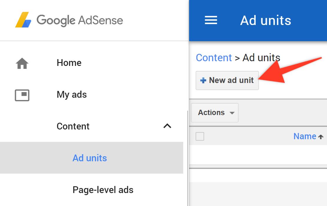 Google Adsense New Ad Unit Button