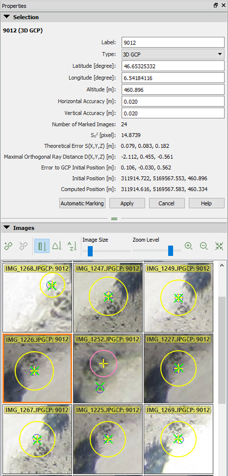 Aerofotogrammetria da drone e Pix4Dmapper: proprietà GCP