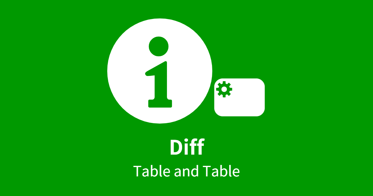 Diff (Table and Table)