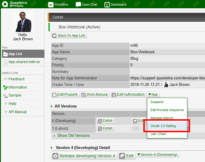 Settings when Calling REST API of Another Service from