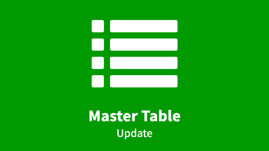 Master Table, Update