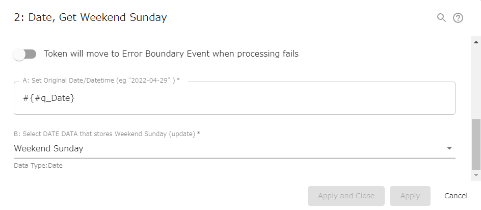 """Gets weekend Sundays. If Sunday is specified, that day itself will be returned. If you want to get """"Monday of the next week"""" or """"Tuesday of the current week"""", you need to convert like #q_date.addDays(1) or #q_date.addDays(-5)."""