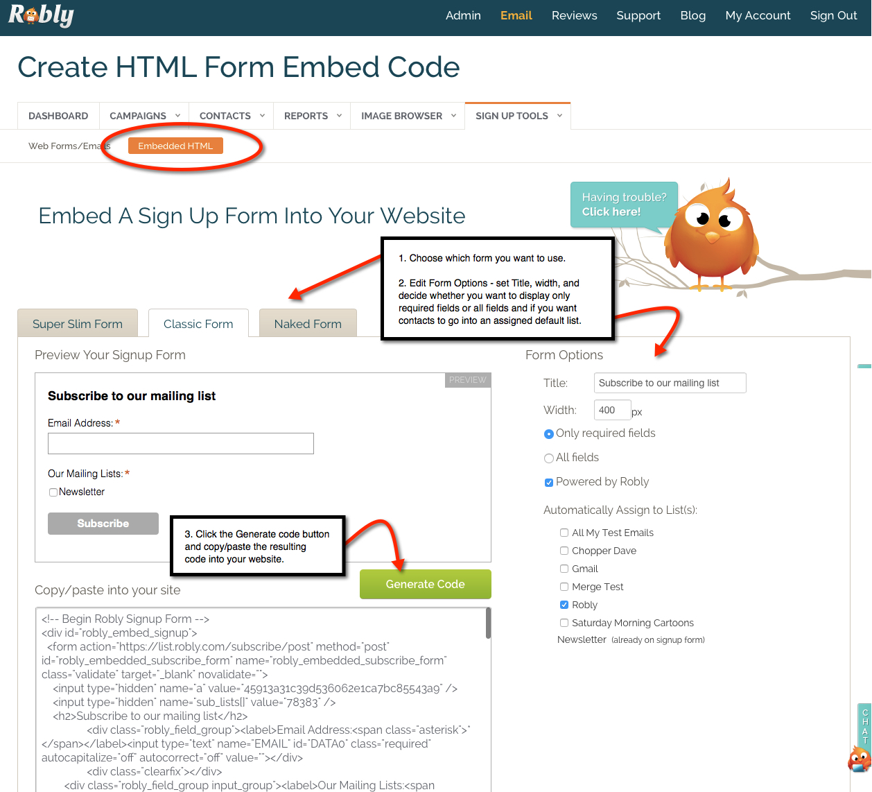 Create an HTML form for your website