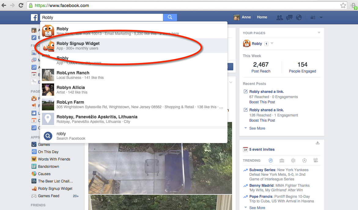 How do i add a facebook sign up widget robly support personal facebook page stopboris Image collections