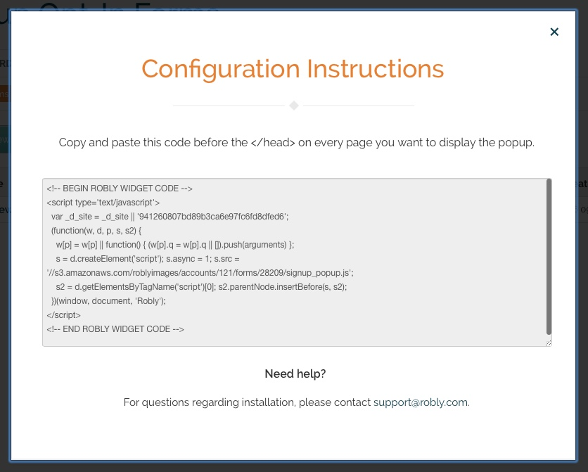 Place this HTML code on every web page you want the popup form to show up on