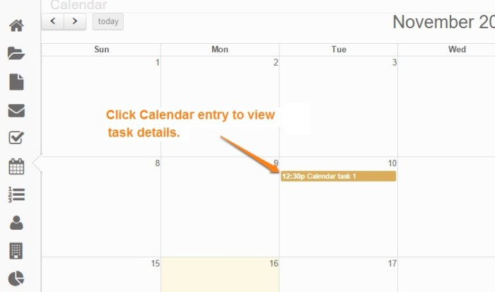 click calendar entry to view task