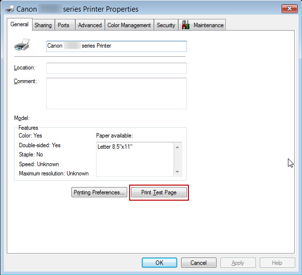 Canon Knowledge Base Print A Test Page For Your Printer Windows