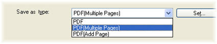 Figure shows PDF (Multiple pages) select from Save as type dropdown