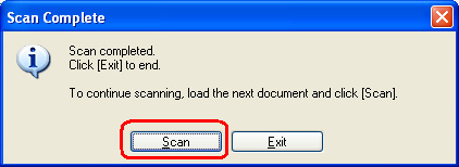 Scan completed. Click Exit to end, or Scan to scan an additional item