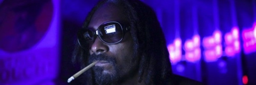snoop dogg banner smoking a blunt with purple background