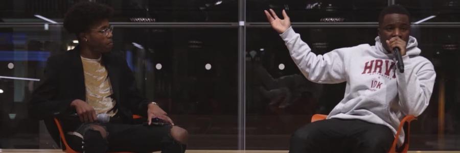 rapper IDK interviewed wearing harvardrapper IDK interviewed wearing harvard