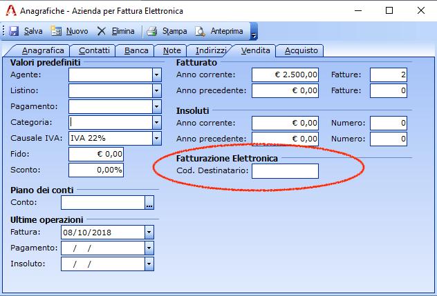 fattura elettronica impostazione codice destinatario predefinito