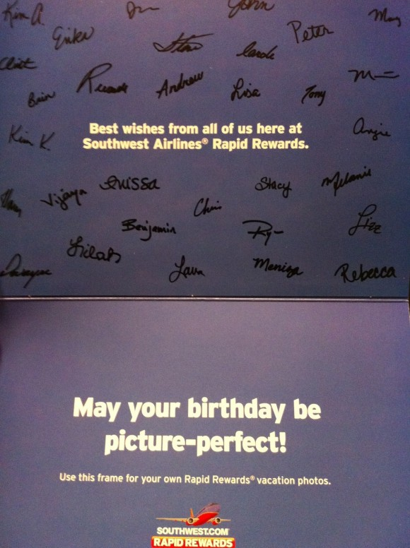 Inside of the Southwest Birthday Card