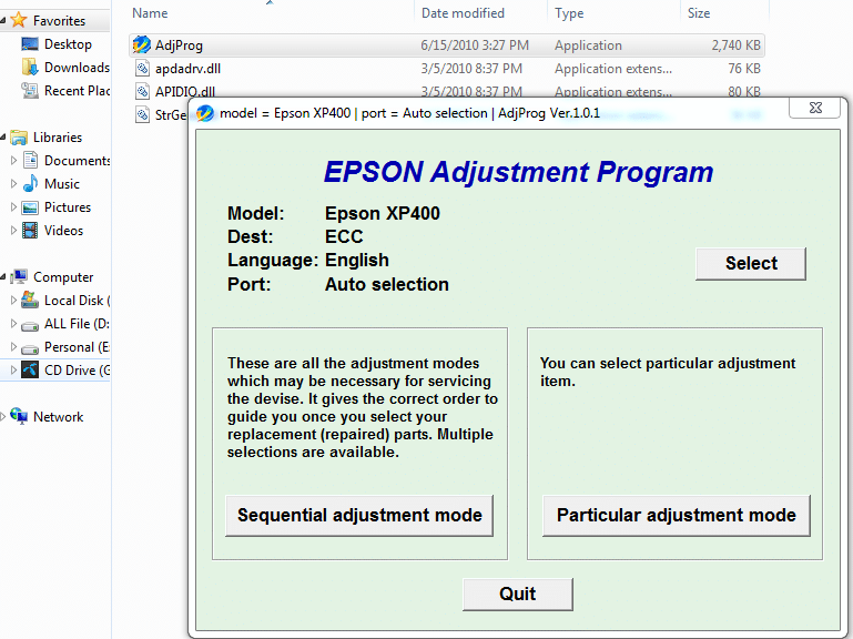 Epson Expression Home XP-400 Resetter