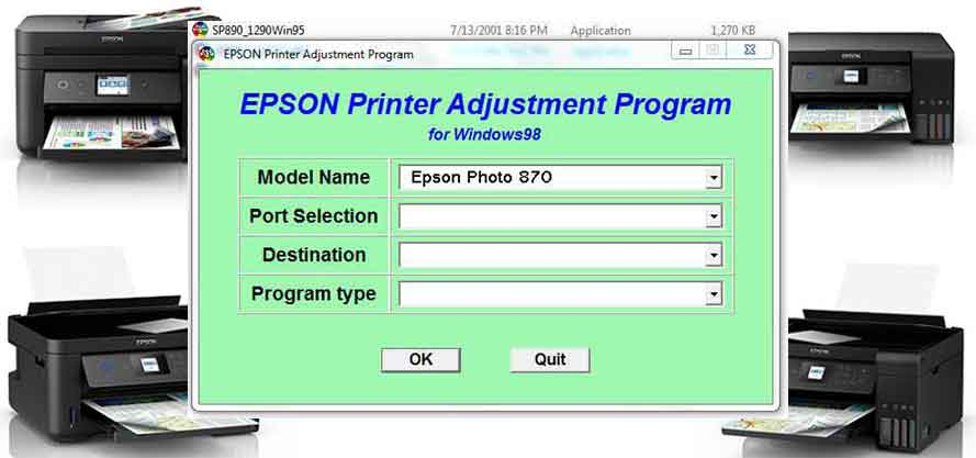 Epson Stylus Photo 870 Adjustment Program