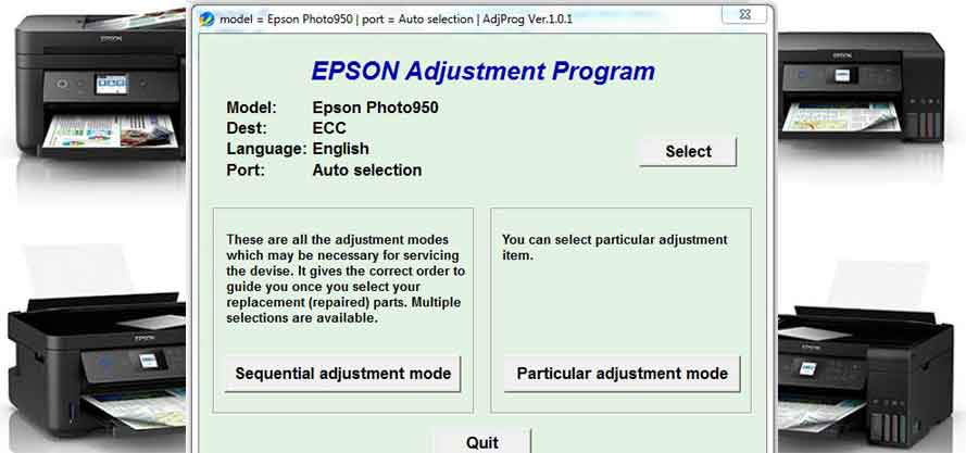 Epson Stylus Photo 950 Adjustment Program