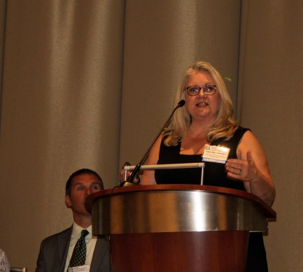 Photo: Kyla Mundwiller, Missouri Department of Mental Health Division of Developmental Disabilities, describes how their participation in the Community of Practice resulted in enhancements to how individuals with I/DD and their families are supported by the Division in Missouri at the 2016 NASDDDS Mid-Year Conference.