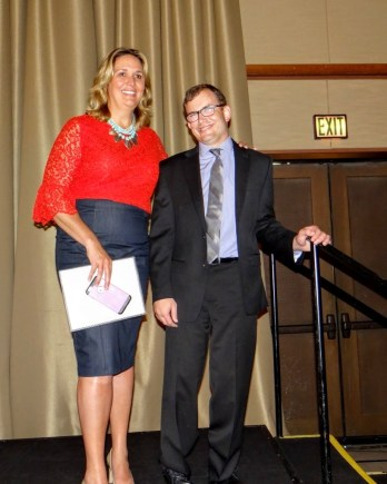 Photo: Ben St. John, with Sheli Reynolds, pose for a shot after their presentation at the 2016 NASDDDS Mid-Year Conference